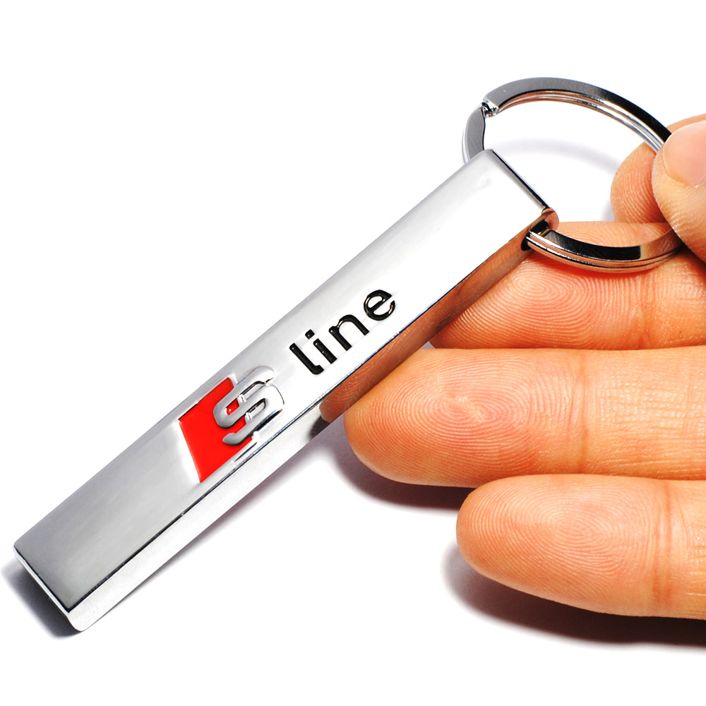 3D Metal S line Sline Car Key Chain Car Keyring for Audi Car Sline Logo Keyring A3 A4 A5 A6 A7 A8 TT RS Q5 Q7 S3 S4 Car Styling