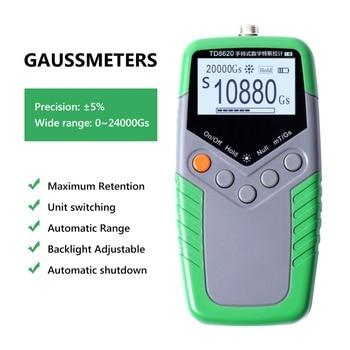 5% Accuracy Permanent Magnet Gauss Meter Handheld Digital Tesla Meter Magnetic Flux Meter Surface Magnetic Field Test TD8620