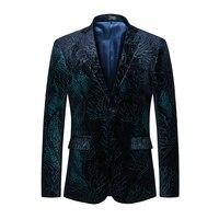 2018 модный мужской бархатный приталенный Блейзер с цветочным принтом, повседневный Блейзер, куртки, мужской качественный смокинг, Свадебный