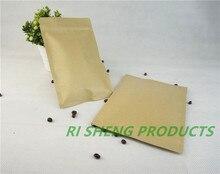 100pcs 15X22cm Brown Kraft paper ziplock bags inner aluminium foil,Resealable Craft paper aluminized pouch Zipper Grip seal sack
