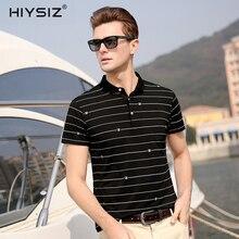 HIYSIZ New Hot T-Shirts Men 2019 Soft Streetwear Digital Striped Casual TShirt Turn-down Collar TShirts For Summer ST021