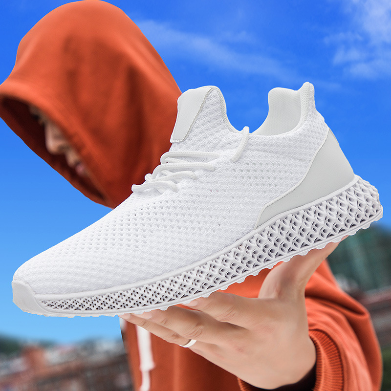 New 4D Print Men Running Shoes Breathable Fly Line Sneakers Outdoor Sport Black White Grey Footwear Male Hollow Mesh 350