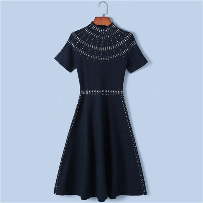 Tunjuefs élégant chaud forage tirettes Robe femmes Robe Slim Robe Lolita printemps automne col roulé pull tricot Vestido piste