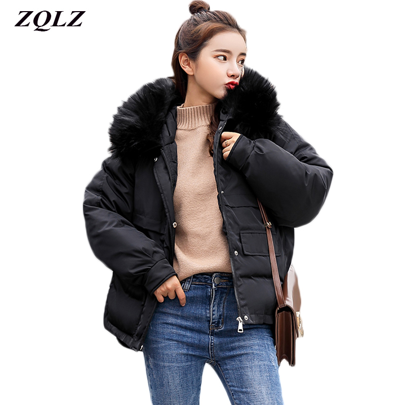 Zqlz Winter Down Cotton Wadded Jacket Women Plus Size Loose Short Coat Black Padded Jackets Fur Hooded   Parka   Mujer Casual Coats