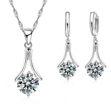 Jewelry Set 925 Serling Silver White Cubic Zircon