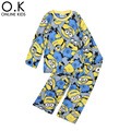 Boys Pajamas Long Sleeve Cartoon Boy Pajamas Sleepwear 2016 Autumn Winter Warm Long Sleeve Kids Pyjamas For Boy Clothes Yellow