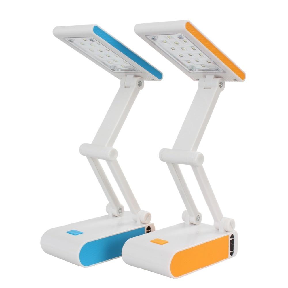 Contemporary orange table lamps - 0 5w 14leds 2modes Rechargable Foldable Reading Desk Table Lamp Blue Orange Option