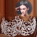 De gama alta rhinestone redondo grande corona de novia joyería del pelo full circle tiara de la boda accesorios para el cabello al por mayor