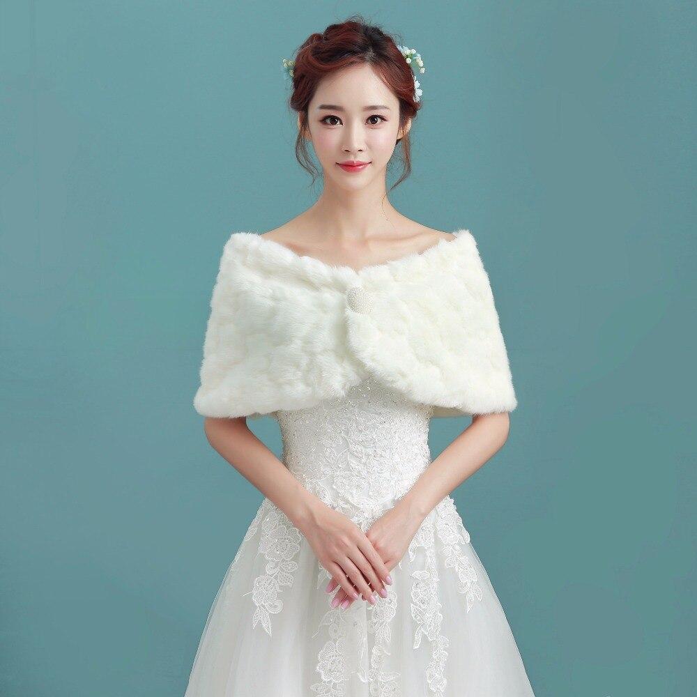 NZUK Faux Fur Shrug Cape Wedding Bolero Bridal Wraps Ivory Shawl ...