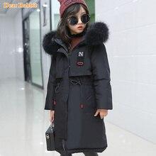Новинка года, детская одежда, парка теплый длинный зимний тонкий пуховик с капюшоном и натуральным мехом Одежда для маленьких девочек верхняя одежда, пальто для подростков возрастом от 10 до 14 лет