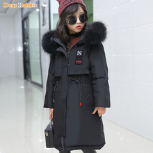 2019 New Children clothing Parka real Fur Hooded Warm Long Winter thin Down Jacket Kids girl clothes Outwear Coat Teen 10 14 Yr