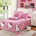Folha de cama folha plana travesseiro case100 % algodão folhas para casa gêmeo completa rainha rei tamanho rosa olá kitty gato gilr leopardo