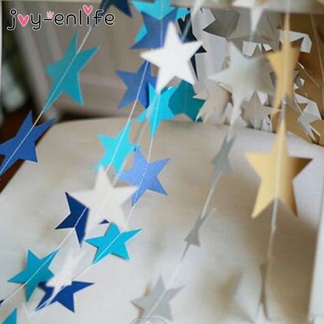Гирлянды с баннерами 1 компл.. Бумага Star JOY-ENLIFE м 4 м день рождения строка цепи баннер украшения Шторы Свадебная вечеринка Декор комнаты поставки