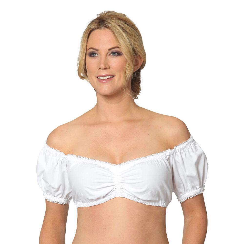 Women's Dirndl Blouse Bavarian Oktoberfest Costume German Traditional White Blouse Shirt Beer Festival Tube Cropped Top