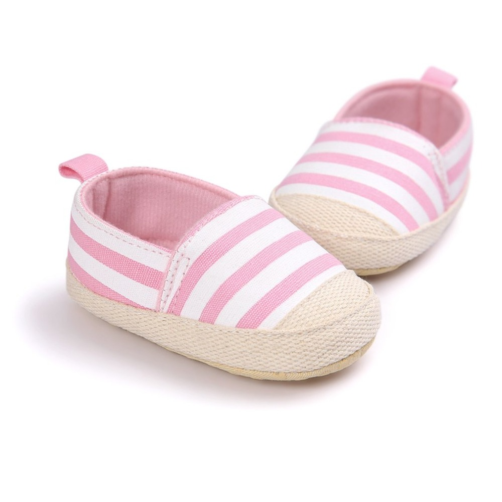 OUTAD Newborn Baby First Walker Slip-on Shoes Anti-slip Soft footwear moccasins Sole Casual Striped Shoes for Baby Infant Hot