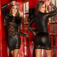 Sexy Perspective Lace Stitching PU Leather Package Hip Mini Dress Nightclubs DS Party Girl Dancer Wear Costumes Dance Stage Wear