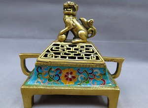 wholesale factory China bronze gild blue Cloisonne censer Foo Dog Lion incense burner Statue
