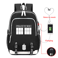 Doctor Who Backpack Daily School Bags for Teenagers USB Charge Headphone Jack Laptop Backpack Boys Girls Travel Rucksack