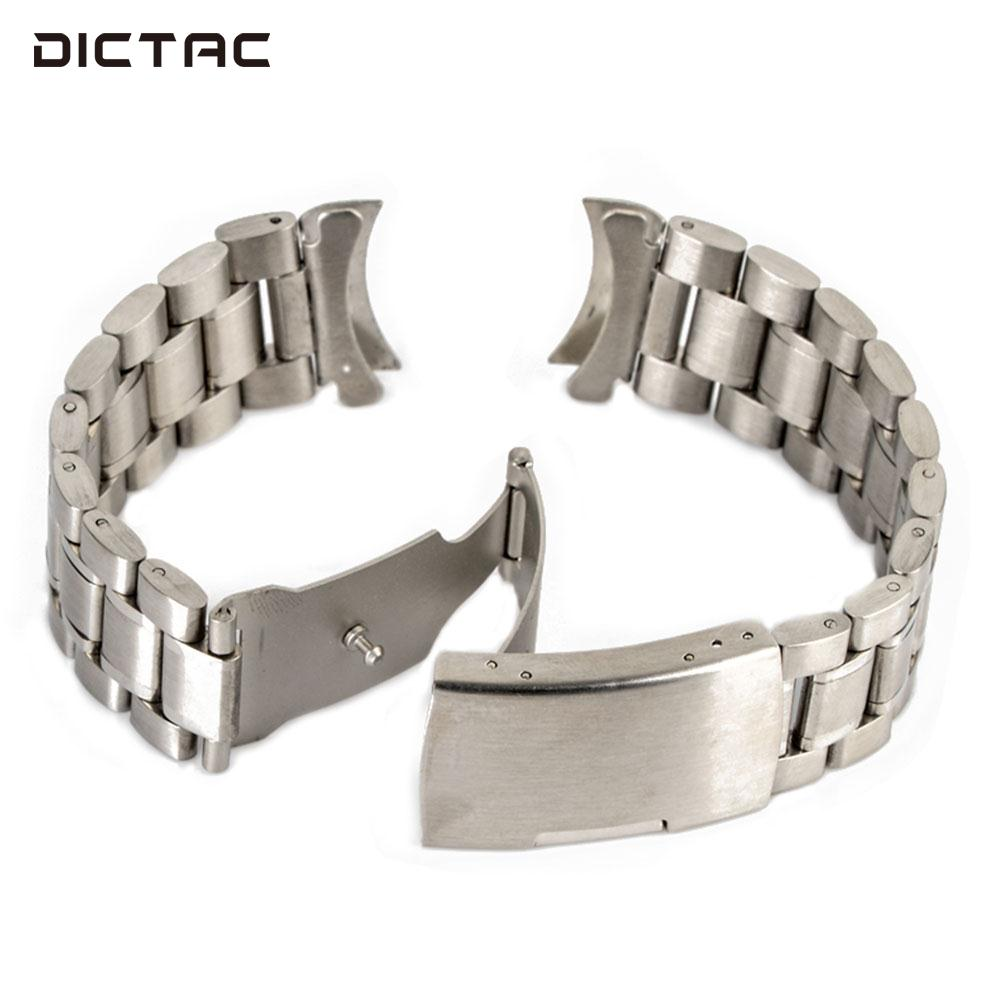 Unisex Wrist Straps Replacement Wrist Band Curved End Quick Release 18-24mm Watch Band Stainless Steel цена
