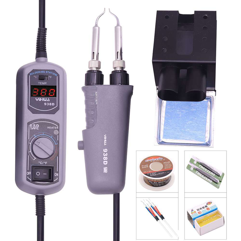 YIHUA 110V/220V EU/USPLUG 938D Portable Hot Tweezers Mini Soldering Station Hot Tweezer For BGA SMD Repairing