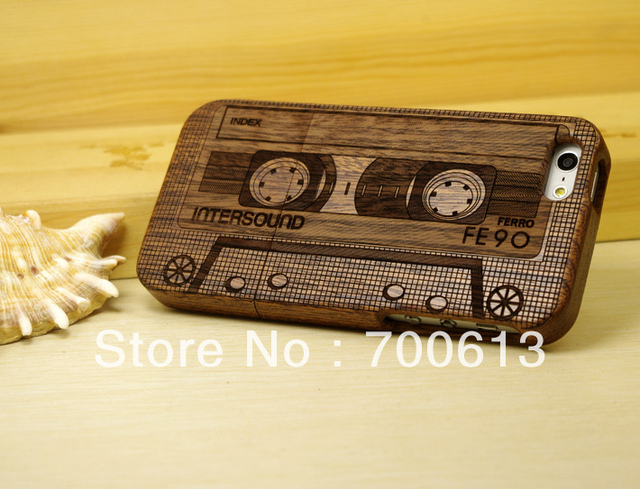 Newest arriving! Natural wood  wooden Case  For iPhone 5/5s Tape cassete