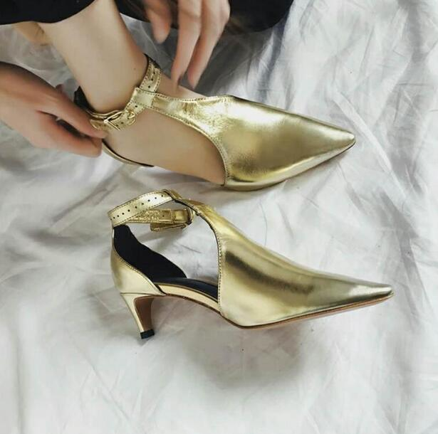 Shiny Golden Leather Women Pointy Toe Sandals 2018 Fashion Cut Out Style Ladies Ankle Buckle High Heels Summer Hot Dress Shoes women sandals shiny leather peep toe