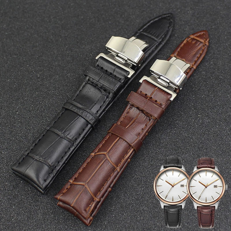 JAVRICK Wrist Watch Band Leather Stainless Steel Butterfly Clasp Buckle Strap 18-24mm цена