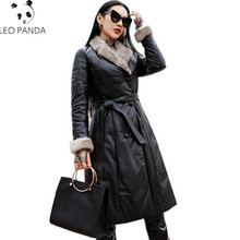 Women Genuine Leather Duck Down Coat Black Long Sheepskin Warm Plus Size Overcoats Winter Mink Fur Fashion Female Parka Jacket(China)