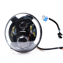7 Inch Round H/Low lm LED Headlight For Jeep Wngler Hummer Land rover defender цена