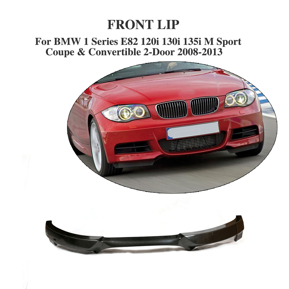 Carbon fiber front lip spoiler aprons for bmw 1 series e82 120i 130i 135i m sport