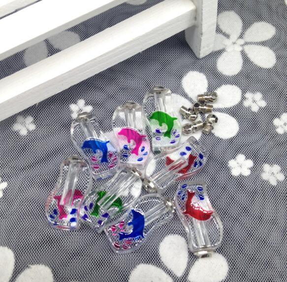 100pcs/lot screw cap mix dolphins crystal vial pendant wish perfume Essential oil bottle name on rice necklace pandant jewelry damien rice cap roig