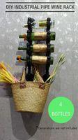 4 Bottle Industrial Pipe Wine Rack Wine Bottle Holder Hanging Storage Wall Shelf
