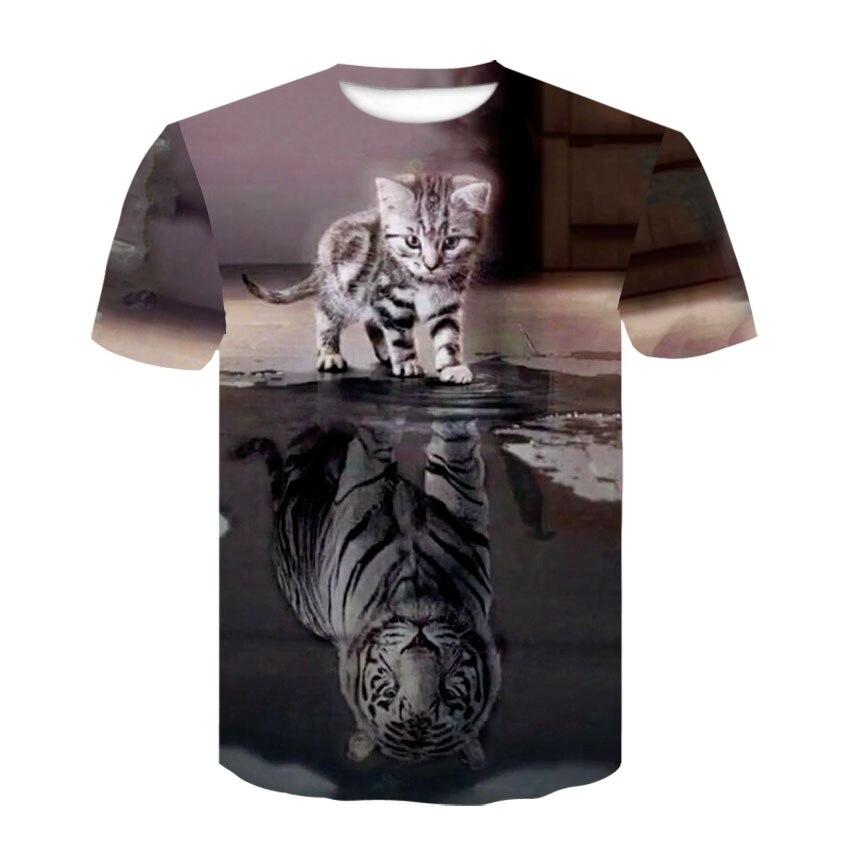 Camiseta masculina casual de manga curta com padrão de animal e gatinho 3d, e camiseta de alta qualidade de harajuku cat personalidade marca