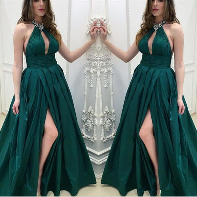 Sexy Hunter Green   Prom     Dresses   2019 beading crystal Split Front Satin Formal Evening Gowns Halter Neck Girls Party   prom     dress
