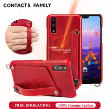For Huawei P20 Tactile Elegant Genuine Leather Case With Hand Strap Wallet Back Protective Cover Coque