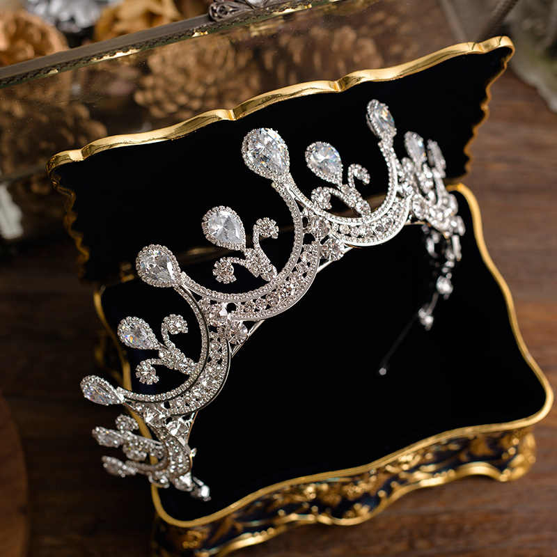 Himstory Luxury New Pageant Headband Tiaras AAA Cubic Zircon Crown Women Hair Accessories for Wedding Gifts