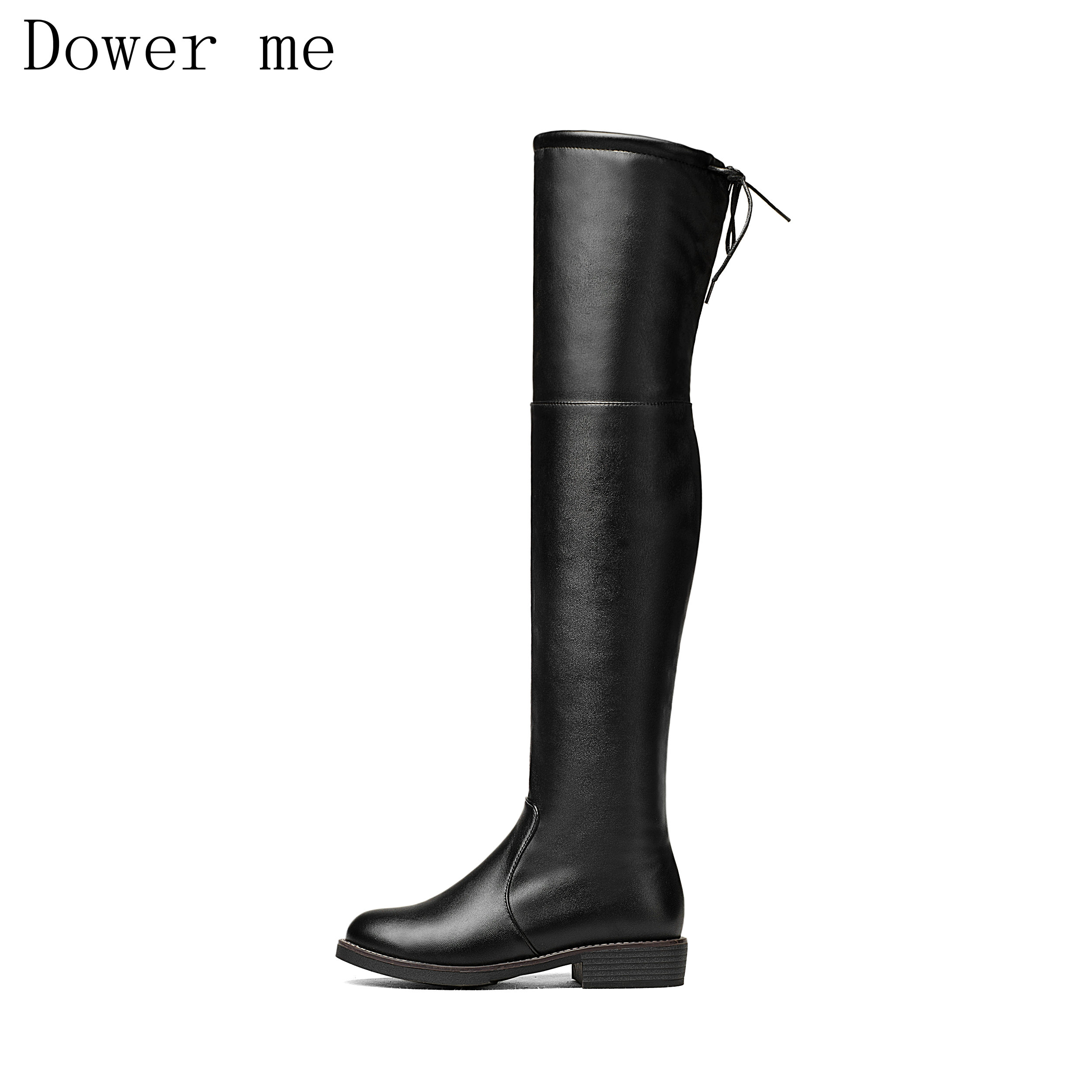 SFZB Over The Knee Boots Square Med Heel Women Boots Sexy Ladies Stretch Fabric Fashion Boots Black Size 34-43