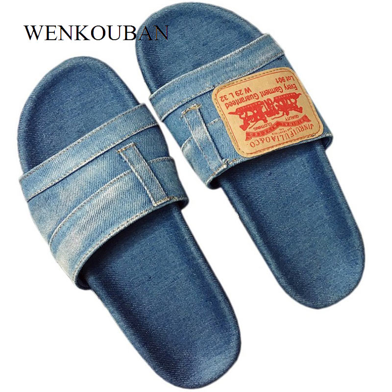 Designer Denim Shoes Women Flat Sandals Summer Shoes Beach Slippers Mules Ladies Sandals Casual Sandalias Zapatos Mujer 2018 summer sandals women clogs beach slipper women shoes casual sneakers women flats sandals ladies shoes zapatos mujer