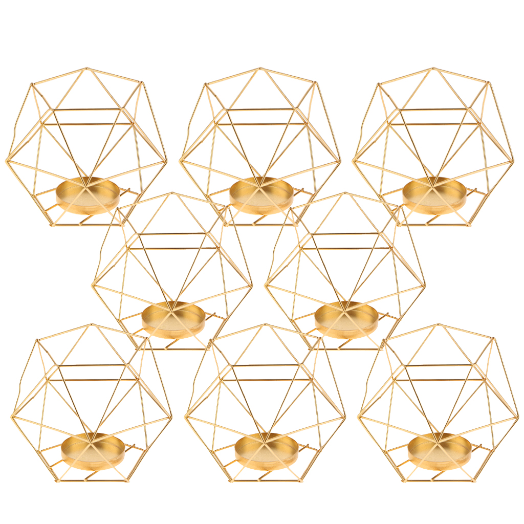 Image 3 - Pack 8 3D Geometric Tea Light Candle Holders Stands Wedding Centerpieces Home Decor ,GoldCandle Holders