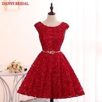 Red Short Lace Homecoming Dresses Cute Party Prom Dresses Modest 8th Grade Graduation Formal Dresses