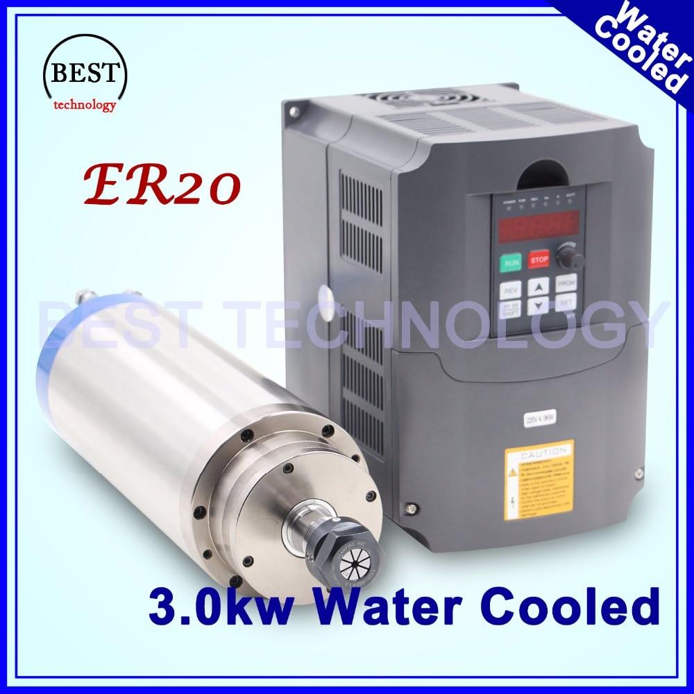Água de refrigeração do motor do eixo 3kw ER20 CNC Eixo Do Motor 4 Rolamento & 4 kw VFD/inversor motorista de freqüência variável de controle de velocidade