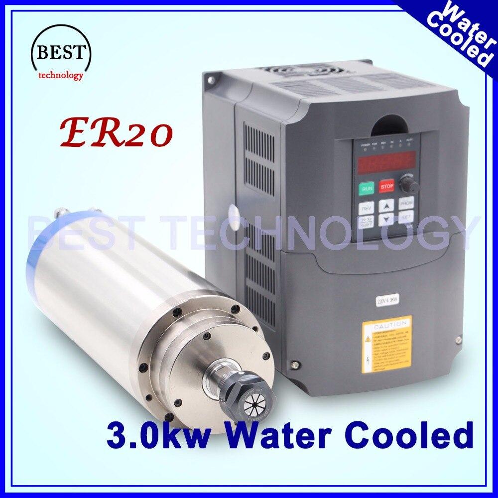 3kw moteur de broche de refroidissement par eau ER20 Moteur De Broche CNC 4 Roulement et 4 kw VFD/inverseur de fréquence variable conducteur contrôle de vitesse