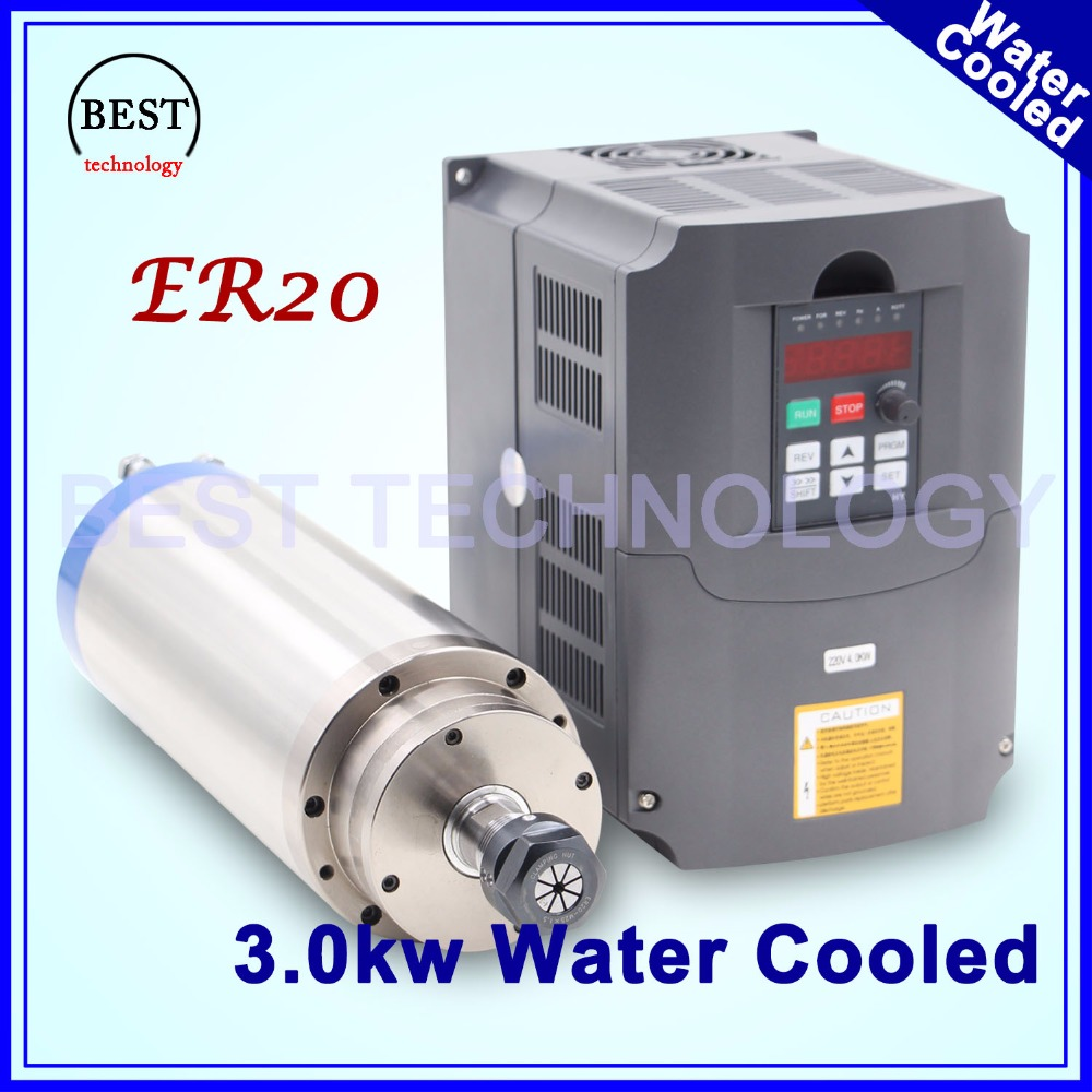 3kw spindle motor water cooling ER20 CNC Spindle Motor 4 Bearing & 4 kw VFD / inverter variable frequency driver speed control шпиндель станка cs 3kw 3 3000w cnc b326d 3kw spindle motor