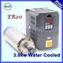 3kw ER20 motor husillo de refrigeración por agua CNC Motor de Giro 4 Rodamiento y 4 kw VFD/inversor controlador de frecuencia variable de control de velocidad