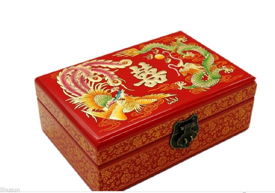 Wholesale 21 14 7 5cm Chinese Handmade traditional wedding Wooden Lacquerware Embroidery Peony 2 Layer Jewelry