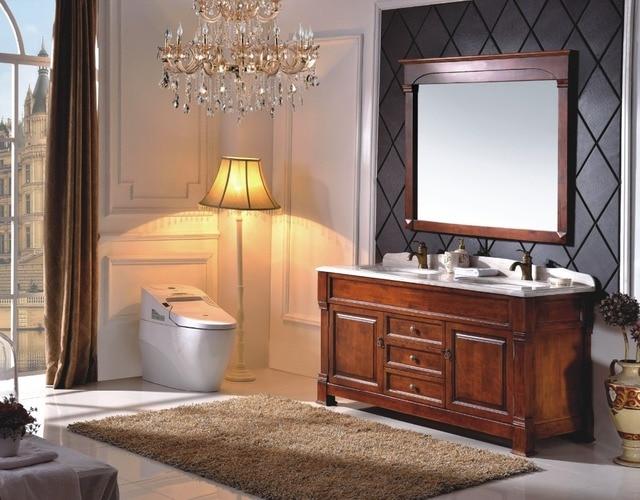 Hot koop antieke stijl dubbele sink hout badkamermeubel met