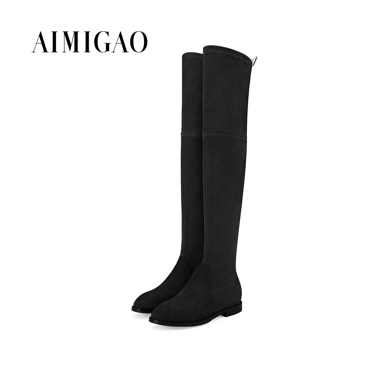 AIMIGAO sexy slim fit over knee boots women round toe low heel boots 2017 autumn winter new suede leather high boots women 2017 new arrival winter plush genuine leather basic women boots knight zipper round toe low heel knee high boots zy170904