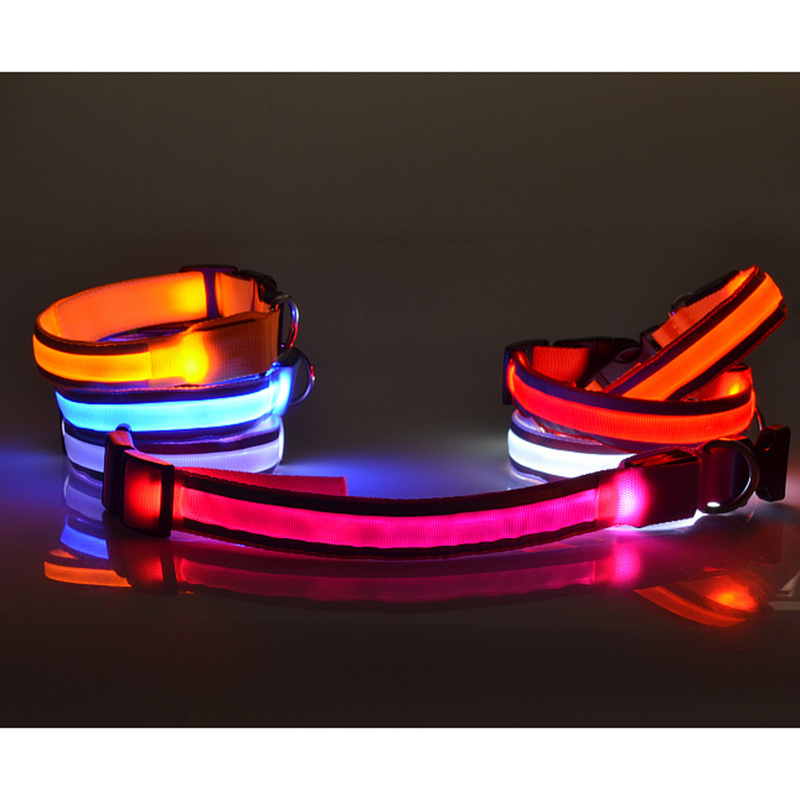 Nueva luz LED Collares Básica Nlylon emisor de rayas reflectantes luces de la cu