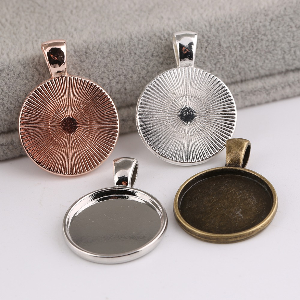 Onwear 10pcs 20mm Round Support Cabochon Setting Metal Blank Cameo Pendant Base Trays Diy Jewelry Bezels Antique Bronze+silver