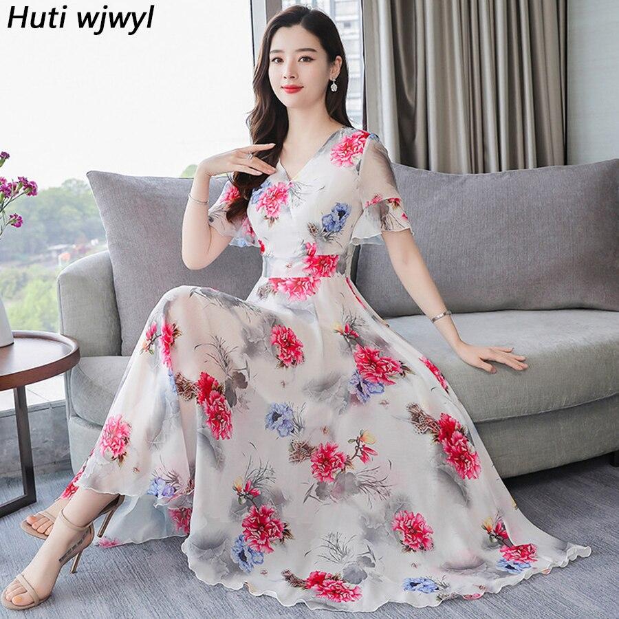 c99ce1644030 2019 Vintage 3XL Plus tamaño Boho Vestido largo de verano de gasa Floral  Maxi de playa Vestido ...